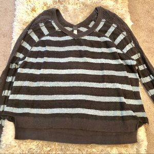 Free People size S blue and brown striped sweater